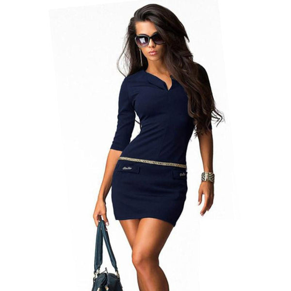 Womens Bodycon Dress V-neck Half Sleeve Casual Package Hip Ladies Mini Dresses Vestidos Plus Size S-4XL