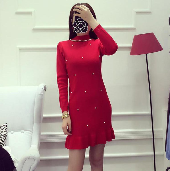 Women Dress Solid Color Beading Collar Sweet Graceful Knitting Dress Long-sleeved Winter Bottom Dress 7color