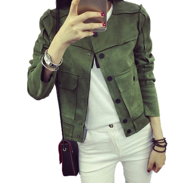 Retro Military Green Jacket Fashion Casual Suede Outerwear Coats Women Tops