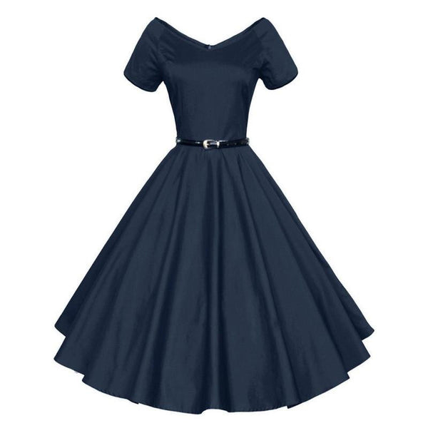 Womens Summer V-Neck Party Dresses 50s 60s Retro Style Ladies Rockabilly Swing Red Black Blue Vintage Dress Robe Femme