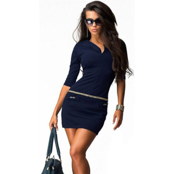 3192e43f06d09 Dress New Sexy Women Half Sleeve Bodycon Package Hip Mini Casual Dresses  Plus Size