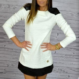 Women Fall Long Sleeve Comfy Dress PU Patchwork OL Outfit Jumper White+Black Dresses Clothes