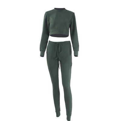 Solid Color Long Sleeve Bodycon Round Neck Two Pieces Outfits Crop Top Long Pants Women Rompers and Jumpsuits