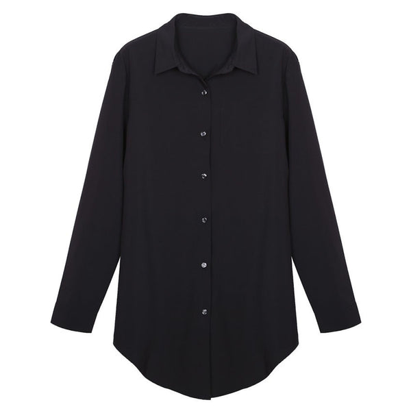 new commuter wild female long-sleeved shirt collar white shirt big OL smooth blue