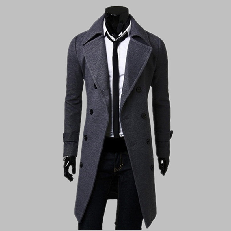New Trench Coat Men Jacket Mens Overcoat Slim Fit Long Coat Men Fashion Coats Windproof Manteau Homme Plus SizegrayMa