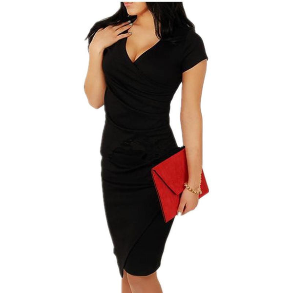 Dress Women Summer V-neck Slim Lady Wrap Red/Black Dresses Short Sleeve Sheath Package Hip Women Dresses vestidos