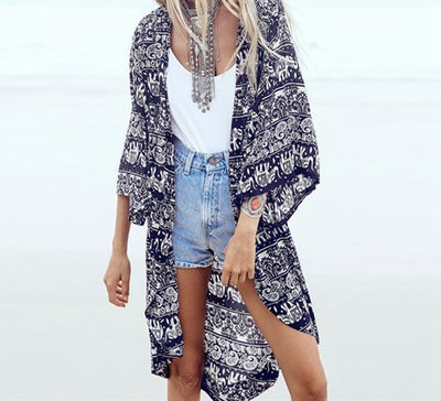 Women Blouses Floral Print Casual Beach Boho Kimono Cardigan Ladies Long Tops Cover Up S-6XL