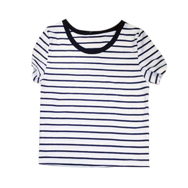 Online discount shop Australia - Cropped Tops Female Top Brand Casual Round Neck Short Sleeve Striped Crop T-Shirt