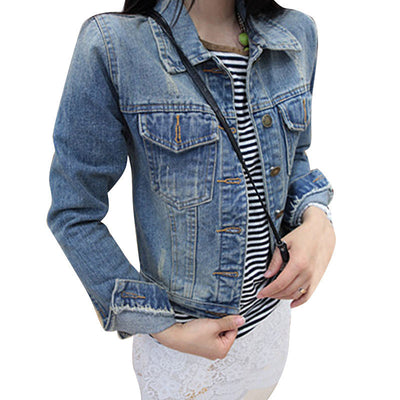 Online discount shop Australia - Long Sleeve Vintage Slim Jacket Denim Women Coats Single Breasted Polo Collar Short Tops  Jeans