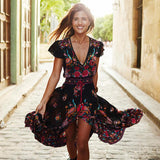 Summer Boho Dress Etehnic Sexy Print Retro Vintage Dress Tassel Beach Dress Bohemain Hippie Dress