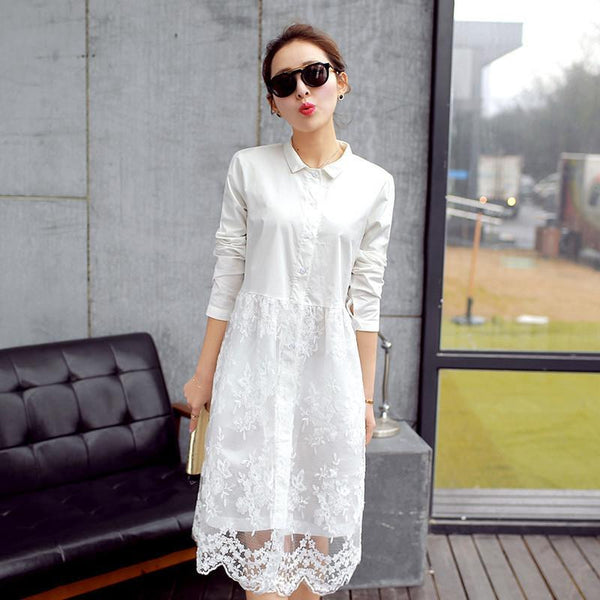 White lace dress new arrival women summer dress long sleeve cute casual dresses Vestidos roupas femininas