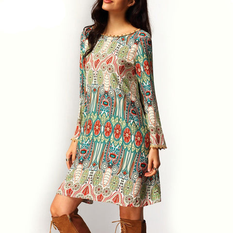 Online discount shop Australia - Fashion Summer Vintage Ethnic Dress Sexy Women Boho Floral Printed Casual Beach Dresses Loose Sundress