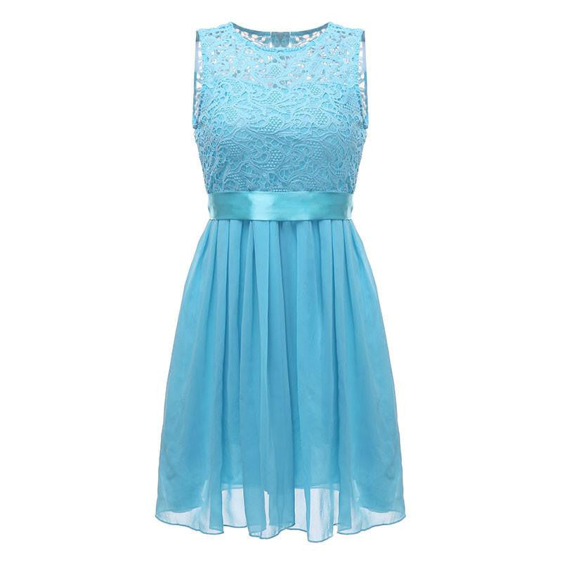 Women Summer Style Dress Sleeveless Elegant Lace Chiffon Princess Knee Length Party DressesBlueSa
