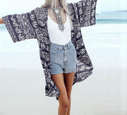 Women Floral Print Blouse 3/4 Sleeve Casual Beach Boho Cover Up Kimono Cardigan Long Tops Plus Size S-6XL