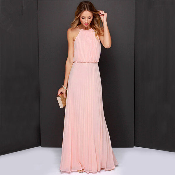 Online discount shop Australia - Beach Tunic Chiffon Long Dresses Boho Elegant Gown Dress Party Maxi Vintage Halter Sleeveless Backless Solid Pleated Women Cloth