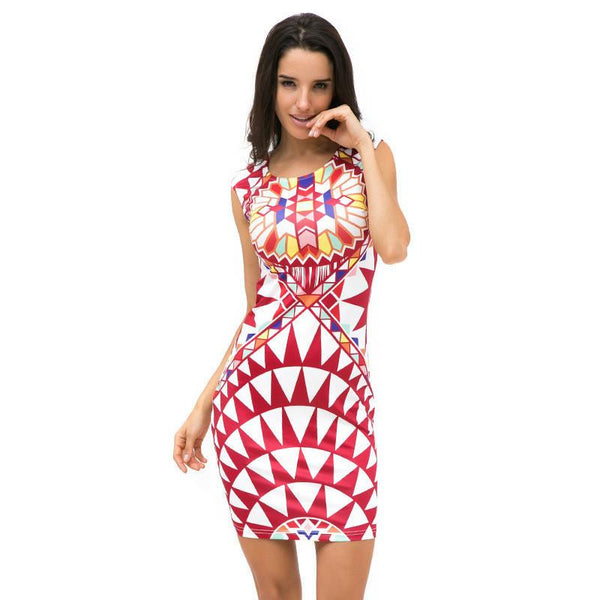 Tropical Floral Print Sleeveless Sheath O-Neck Natural Knee-Length Dress Sexy Casual