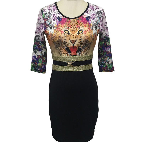 Tropical Floral Print Sequin Fashion Vestidos Women Sequin Sheath leopard Three Quarter O-Neck Mini Dress 1866-3-5-7