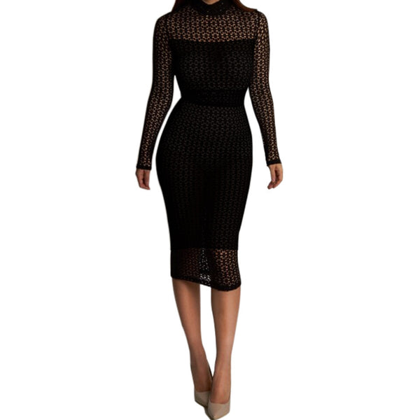 Sedrinuo Autumn Elegant Black Dress Two Pieces Lace Long Sleeve Slim Round neck Sexy Dresses Bodycon Evening Party Dress