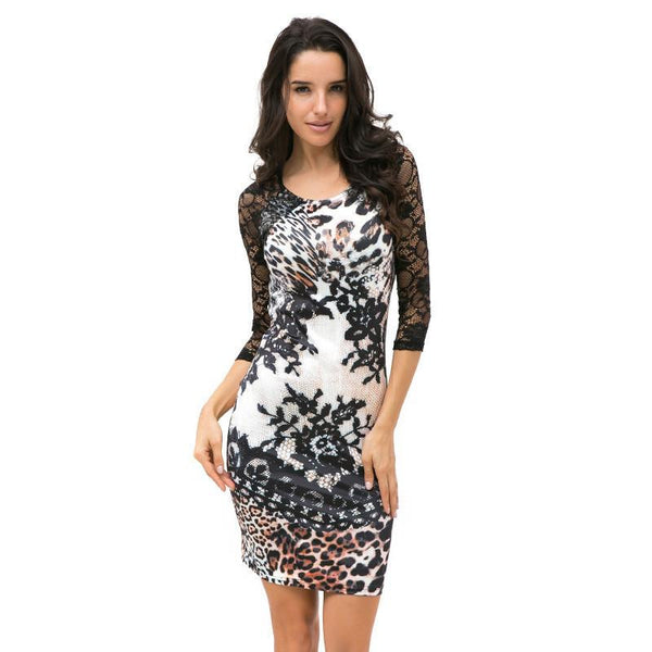 Tropical Floral Print Autumn Sexy Leopard Lace Dress Women Casual Mini Dress Half Sleeve Sheath Plus Size Patchwork Dress 2406