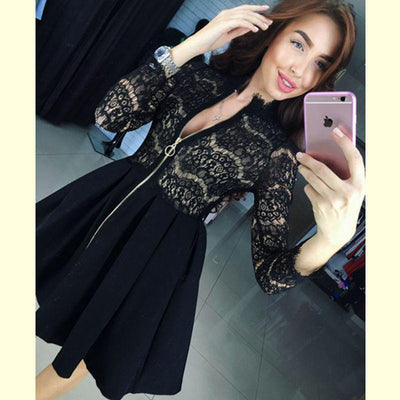 Women Fashion Casual Lace Patchwork Dress Sexy V-Neck half Sleeve Evening party Dress