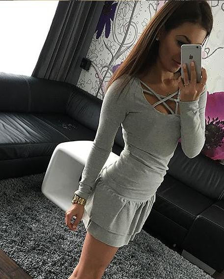 Women Long Sleeve Slim Fit Fashion Ladies Top Hollow Out Tops Tee Solid LJ4515R