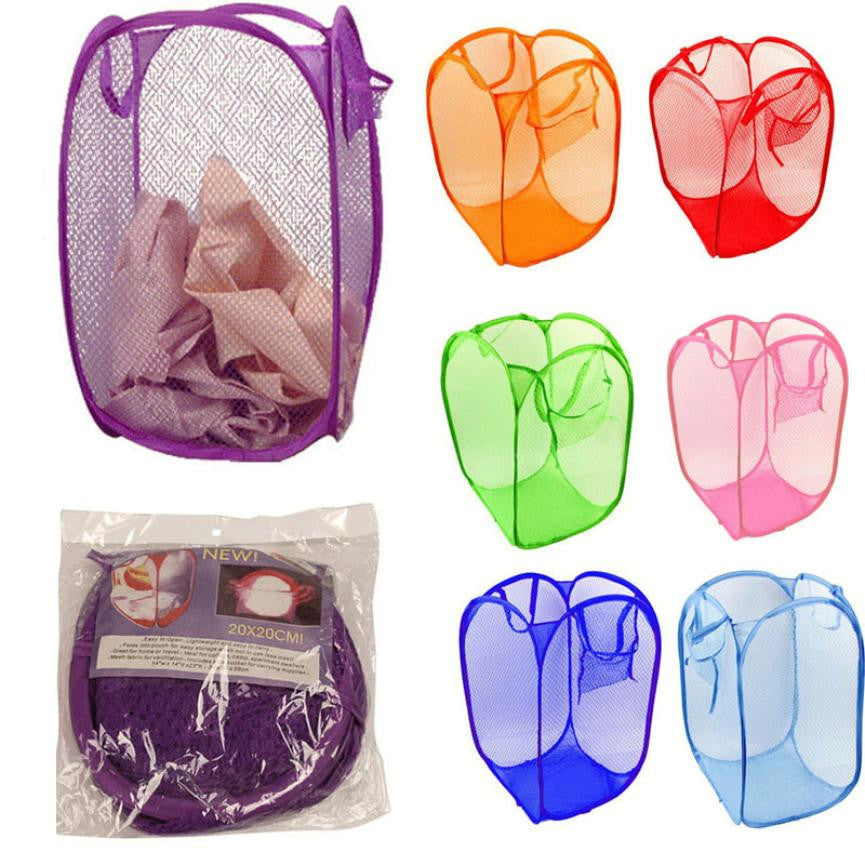 New Qualified New Foldable Pop Up Washing Clothes Laundry Basket Bag Hamper Mesh StoragePinkXLa