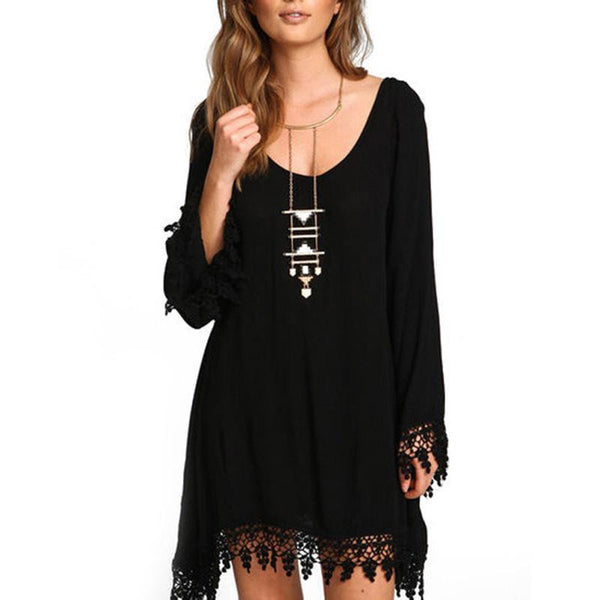 Women Ladies Casual Loose Long Sleeve Tassel Black Party Dress Summer Boho Beach Maxi Sun Dresses Z2