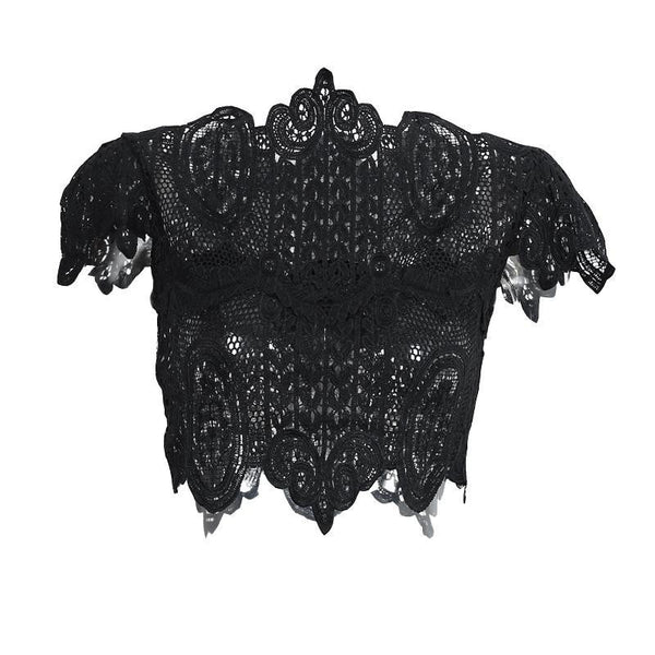 Online discount shop Australia - elegant black lace crochet crop top Girls short sleeve white blouse Women sexy hollow out tank tops
