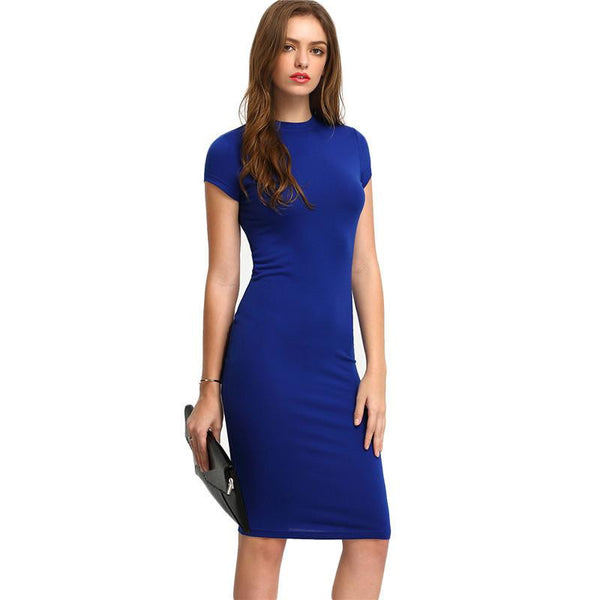 Summer Office New Arrival Women's Bodycon Dresses Sexy Short Sleeve Crew Necl Work Knee Length Dress