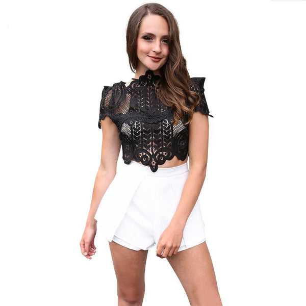 Online discount shop Australia - BerryGo  style elegant black lace women tops Causal short sleeve white blouse shirt Sexy beach hollow out girls crop tops