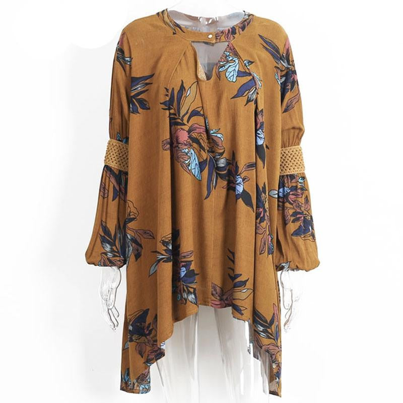 Vintage pleated boho women dress Sexy christmas hollow out loose dress Casual lantern sleeve floral short dressYellow BrownLa