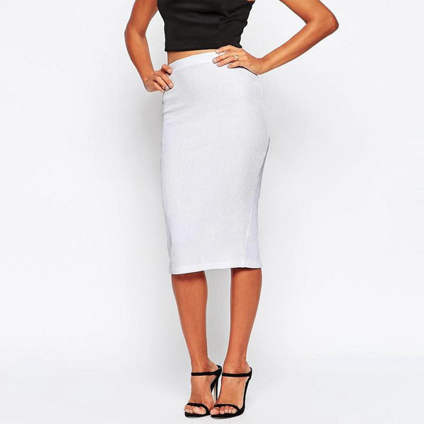 Sexy Womens High Waist Knitted Skirts Bodycon Knee Length Slim Hip Black White OL Pencil Skirts Saia