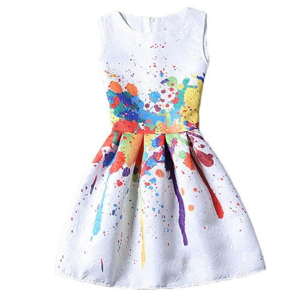 Women Colourful Round Neck Sleeveless Graffiti Print Jacquard Dresses Ladies Cute A Line Short Dress