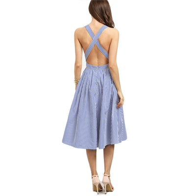 Online discount shop Australia - COLROVIE Beach Wear Summer New Style Women Blue Striped Sleeveless Criss Cross Back A Line Backless Dress