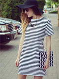 er Women Round Neck Fashion Black and White Striped Short Sleeve Straight Short Casual Dress