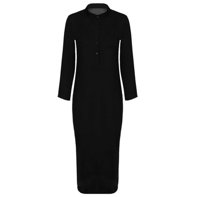 Shirt Maxi Dress Women Linen And Cotton Long Dresses Casual Vintage Split vestidos Summer Autumn Black Dress