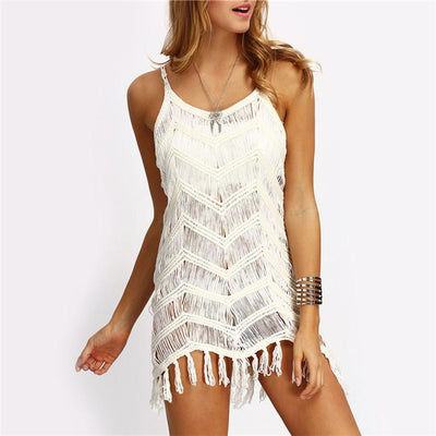 Sexy Women Beach Dresses Casual Sleeveless Hollow Beige Tassel Spaghetti Strap Mini Dress