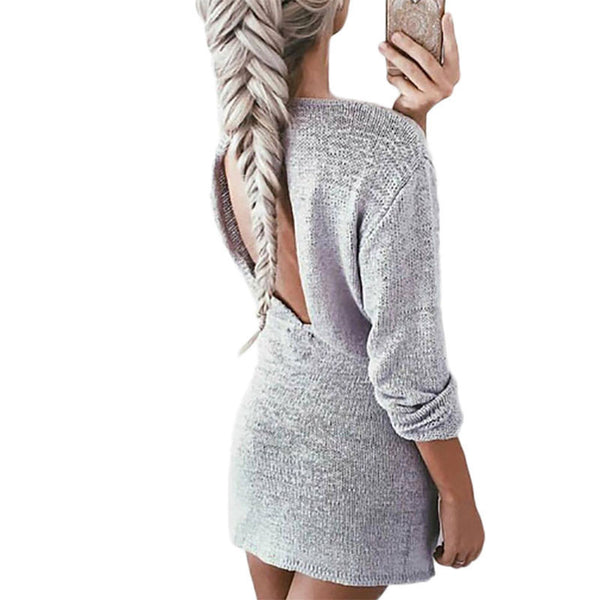 Online discount shop Australia - Casual new autumn sweater dress cut out back sexy short dresses for women long sleeve solid slim grey vestidos ladies dress