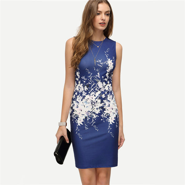 Online discount shop Australia - COLROVIE New Summer Style Bodycon Dresses Vintage Ladies Sexy Fitness Floral Print Sleeveless Crew Neck Dress