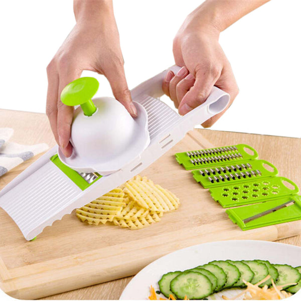 Online discount shop Australia - 7 in 1 Plastic Vegetable Fruit Slicers Cutter Adjustable Stainless Steel Blades Multi-function ABS Peeler Grater Slicer KC1055