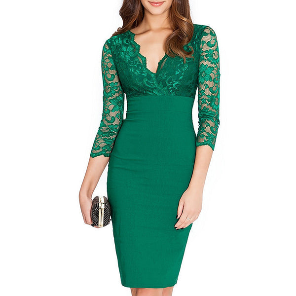 New Women Party Dresses Fashion Sexy Black Lace Dress Women Bodycon High Waist Pencil Dress Embroidery V Neck Clothes Green