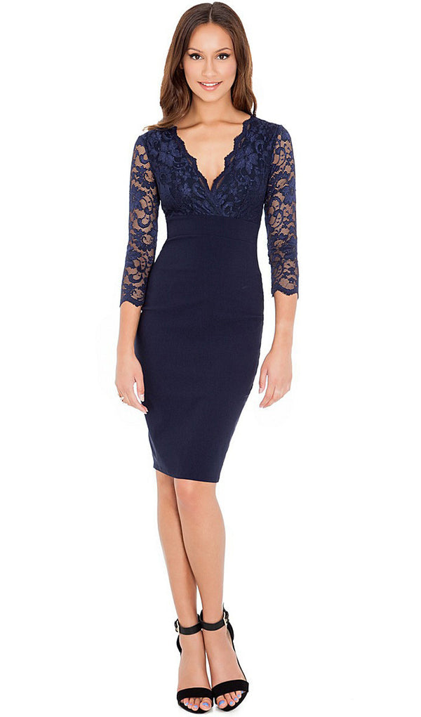New Women Party Dresses Fashion Sexy Black Lace Dress Women Bodycon High  Waist Pencil Dress Embroidery d46a834f9c9f
