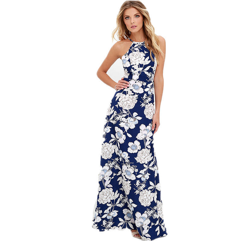 c03558dfc509 Online discount shop Australia - floral print dress Women evening party  backless sexy long dresses Boho