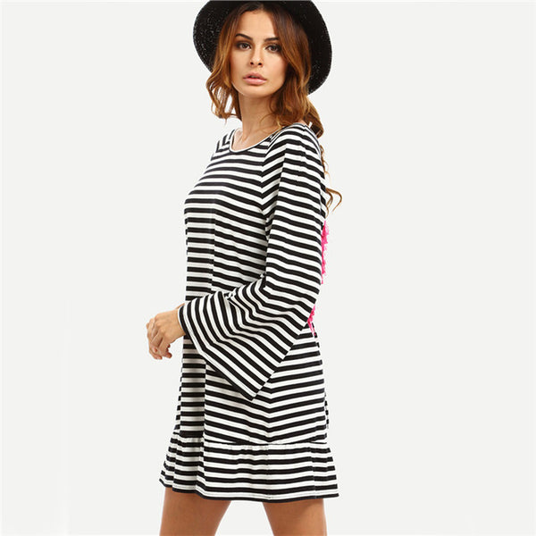 Online discount shop Australia - COLROVIE Sexy Striped Backless Tassel Straight Summer Style Dresses New Beach Women Long Sleeve White Shift Dress