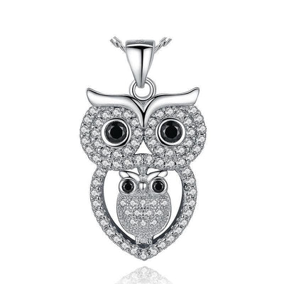 Vintage Owl Pendant Necklace with AAA Austrian Zircon White Gold Plated Summer Collection Animal Jewelry YIN047
