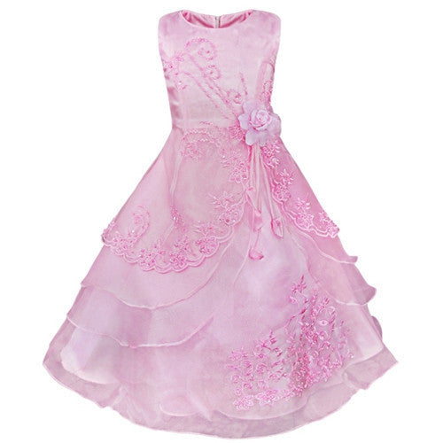 daa6fdcc2b3a Embroidered Flower Girl Dress Kids Pageant Party Wedding Bridesmaid ...