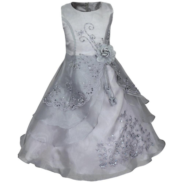 Online discount shop Australia - Embroidered Flower Girl Dress Kids Pageant Party Wedding Bridesmaid Ball Gown Prom Princess Formal Occassion Long Dress 4-14Y