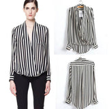 Online discount shop Australia - Fashion Women Long Sleeve Chiffon Button Striped Blouse Shirt Lapel Tops Shirt