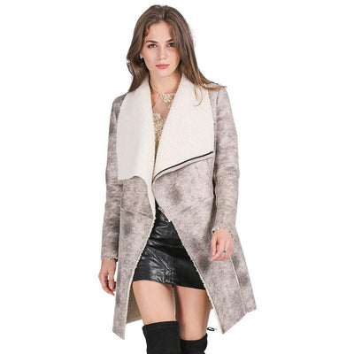 Suede lambswool coat women  Elegant warm zipper cashmere coat Turn down collar wide waisted overcoat