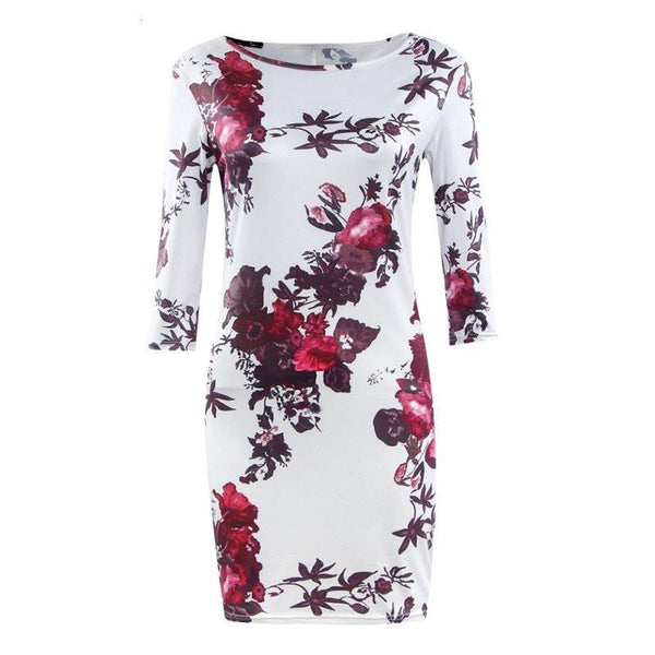 WJ New Women Clothing Spring Autumn Fall Vestidos Flower Print Dresses Ladies Half Sleeve H8